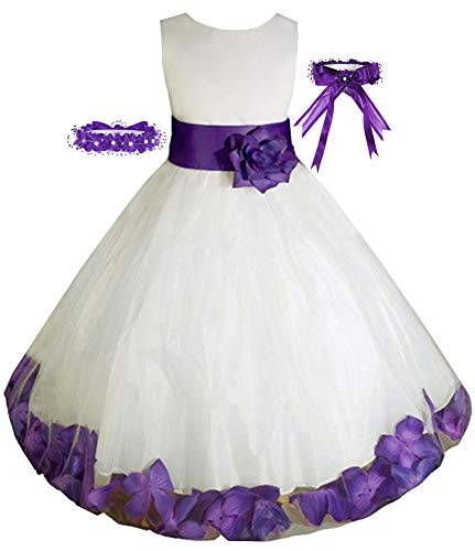 Little-Girls' Ivory/Purple Flower Girl Dress w/Free Matching Hair Wreath Sz 2
