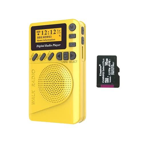 SIHUADON Dab/Dab Radio FM Digital Radio PortáTil con Carga De La Red Y De La BateríA por USB con El Reproductor De Mp3 Amarillo (16G)