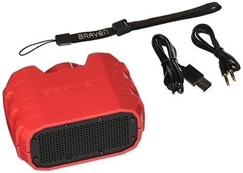 BRAVEN BRV-1 Portable Wireless Bluetooth Speaker [12 Hours][Waterproof] Built-in 1400 mAh Power Bank Charger- Red/Dark Gray