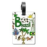 Etiqueta de identificación para Maleta de la Bandera Nacional de Brasil con Texto en inglés Love Heart