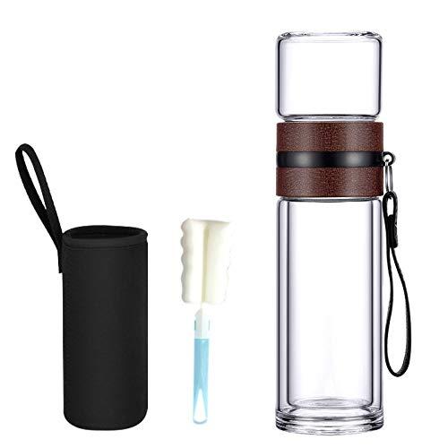 400ml Infusor de té de vidrio con filtro colador separado, cámara de infusión de té de doble pared, taza de té de viaje para hojas sueltas calientes y agua de frutas a prueba de fugas, portátil-brown
