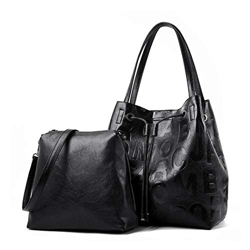 BUKESIYI Women's Totes Shoulder Bags Hobos Satchels Top-Handle Handbags PU Leather Convertible CCUK77111 Black