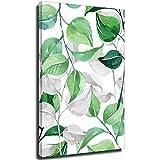 Arte de pared moderno verde abstracto planta hojas lienzo impresión arte cartel nórdico verde planta pared cuadros marco-estilo1 8 × 12 pulgadas (20 × 30 cm)