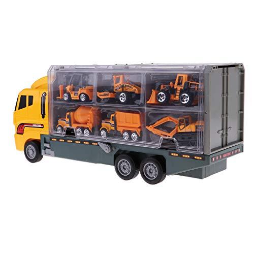 1/64スケール コンテナトラック模型 輸送トラック模型 建設車両モデル 模型玩具
