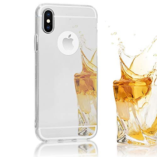 NALIA Mirror Case Compatible with iPhone Xs X, Ultra-Thin Shiny Protective Selfie Silicone Cover, Slim Shockproof Gel Protector with Reflective Back, Smart-Phone Bumper Skin, Color:Silver