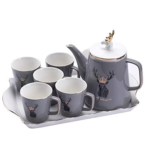 Taza y platillo, taza de sopa, platillos de tazas de cerámica, servicio de té, tetera y conjunto de té, conjunto de té de cerámica de ciervos negro, juego de té de café de porcelana gris, una olla de