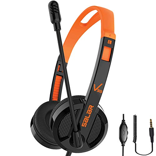 Kids Headphones On Ear Headphone Wired Stereo Earphones Volume Limited Safe Headband Headsets Noise Cancelling Microphone 3.5mm Jack for Kids Girls Boys Adult Online Learning School PC (Black)