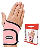 Pink Doctor Developed Wrist Support   Copper Lined Brace adjustable Strap - Doctor Handbook   Compression Wrist Brace for Arthritis, Carpal Tunnel, Treat Joint Pain   Hand Support for Sports Injury