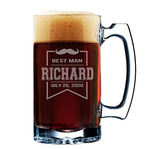 Groomsmen–Vasos de cerveza grabado personalizado personalizado cerveza taza regalos–12oz, vidrio, transparente, Mustache Style - 12 oz
