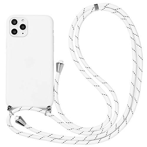 Eouine Capa transversal para Samsung Galaxy A50 / A30S / A50s [6,5 polegadas] - Alça de cordão de pescoço com capa de telefone - tira ajustável de silicone branco antiarranhões - Branca