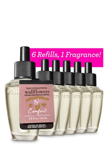 Bath and Body Works 6 Pack Aromatherapy Vanilla Patchouli Wallflowers Fragrance Refill 0.8 Oz.
