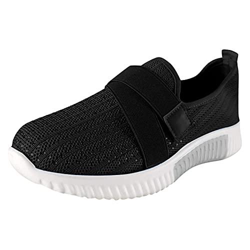 Damen Casual Sneakers Trainer Dickbesohlige Casual Slip-on Einfarbig Strass Licht Atmungsaktive Walking Jogging Outdoor Flache Schuhe