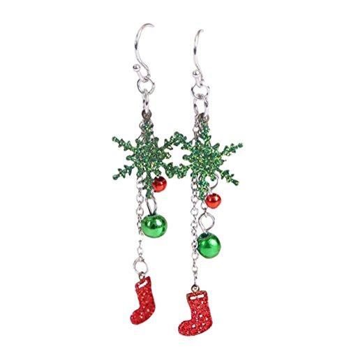AprilElst Kerst Vrouwen Oorbel Mode Elegante Glitter Pailletten Verzilverde Kerst Kralen Sneeuw Laarzen Hanger Vrouwen Sieraden Oorbel voor Meisjes Vrouwen Party Xmas Decoratie Geschenken 1 Paar