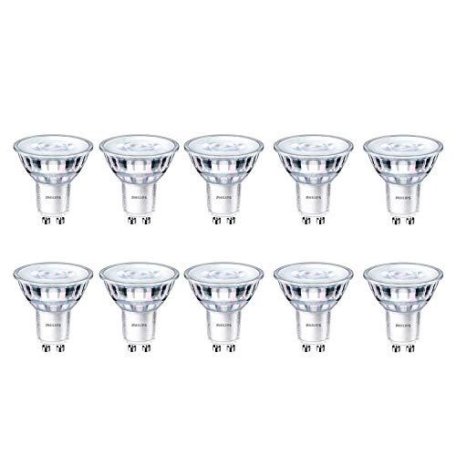 Philips CorePro - Foco LED (3,5 W, 35 W, GU10, 2700 K, luz blanca cálida, 255 lúmenes, 15000 horas, haz de 36°, 10 unidades)