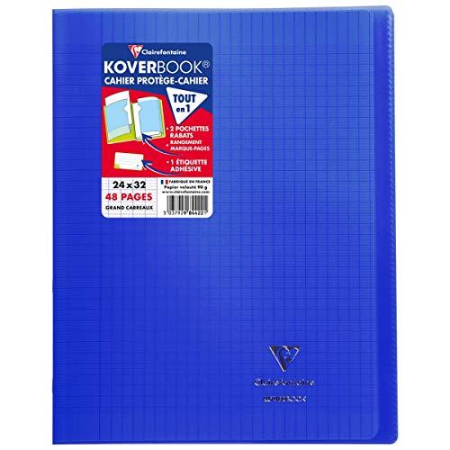 Clairefontaine 984422C - Un cahier piqué Koverbook 48 pages 24x32 cm 90g grands carreaux, couverture polypro (plastique) transparente, Bleu marine