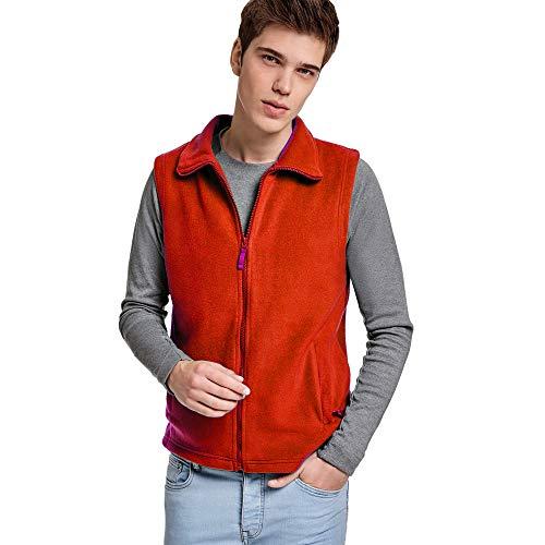 24 JOYAS Gilet in pile con collo alto, cerniera e tasche – cappotto comodo, morbido, caldo e piacevole al tatto. rosso S