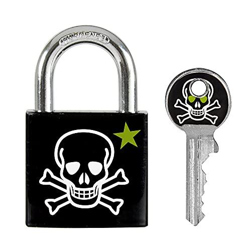 Master Lock 3430EURDSKULL Candado a Llaves Con Estampado de Calavera, Calavera, 5,3 x 3 x 1,5 cm