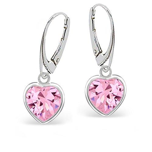 Rosa Zirkonia Herz Brisur Ohrringe 925 Echt Silber Mädchen Damen Kinder Ohrhänger Geschenkidee (Rosa)