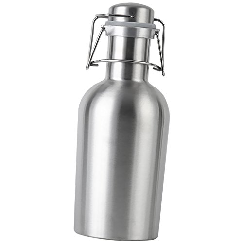Non-brand Swing Top Flachmann Edelstahl Hausgebräu Bier Growler Flasche Silber - Silber, 1L