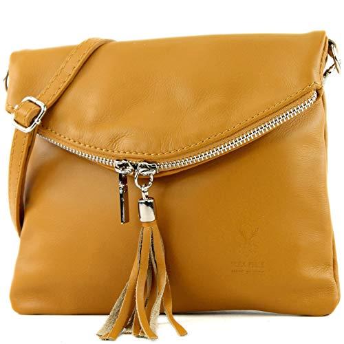modamoda de - la bolsa italiana T139 pequeña napa, Color:amarillo mostaza
