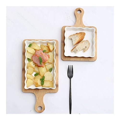 DZSW Piatto in Porcellana Ceramica, Piatto, Cena Piatto con Legno Pallet Riso Bianco Porcellana Insalata Noodles zuppiera Piatti della Cucina Che cuociono l'attrezzo da tavola .Piatto (Color : L)
