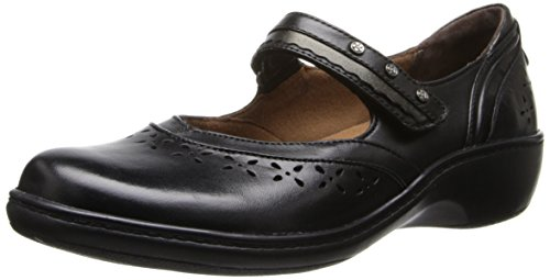 Aravon Women's Dolly Flat,Black,10 2E US