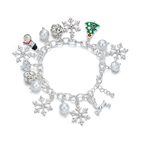 Cute Christmas Charm Bracelet Silver Plated Snowflake Xmas Tree Reindeer Snowman Faux Pearl CZ Bling Beads Chain Link Adjustable Holiday For Women Girls