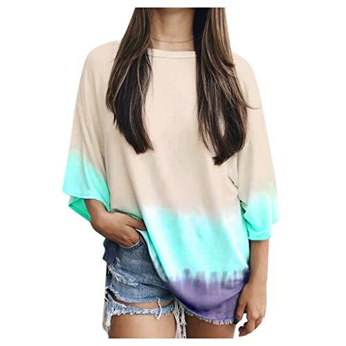 Reooly La Sra Degradado de Color Camiseta de la Camisa del suéter Camisa de Manga Larga