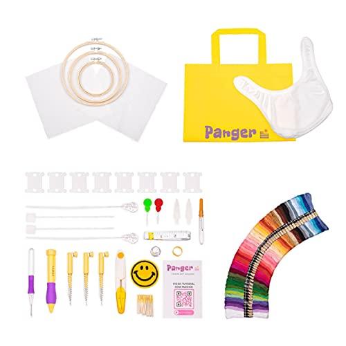 PANGER   Kit Ricamo principianti   versione 2021   Bavaglino da ricamo   punto croce completo   ago magico   video tutorial   Embroidery   sacca regalo   starter ricamo   Set aghi