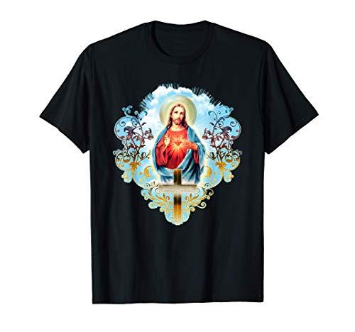Sagrado Corazón de Jesucristo Cruz Regalos católicos Camiseta