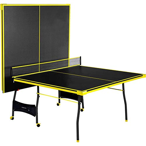 Affordable Cirocco Foldable 4 Piece Official Tournament Size Table Tennis Ping Pong Play Black Yello...
