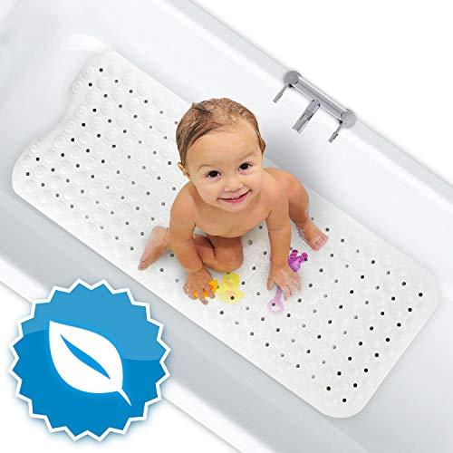 FLIPLINE Badewannenmatte Natura Hautsensitiv 100{aa30020341dc448795aa2f44315b2c8190d07cc0d7ba374a27c457e7c1c85387} BPA frei - KEIN PVC - Badewanneneinlage 100x40 cm rutschfest für Kinder und Baby - Antirutschmatte