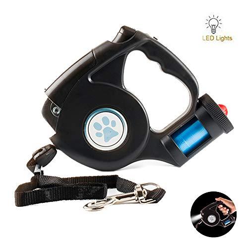AUPERTO Einziehbare Hundeleine mit LED Taschenlampe - 5M Roll-Leine mit Ergonomischem rutschfest-Griff, Kostenlose Müllsack für Hunde Bis Max 30 kg
