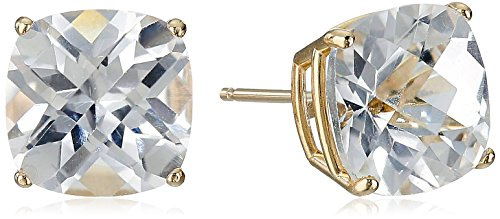 Amazon Collection 14k Yellow Gold Cushion-Cut Checkerboard Created White Sapphire Stud Earrings (8mm)