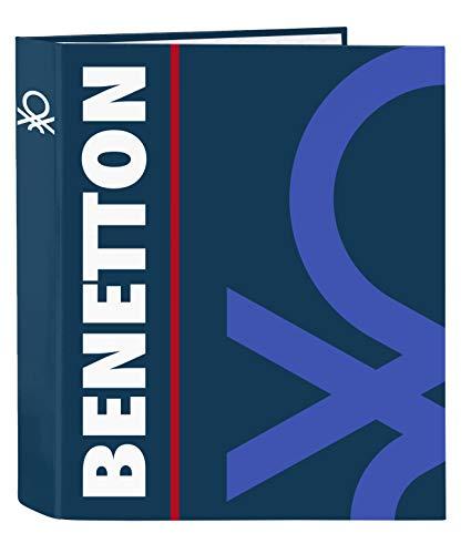 Benetton Folio-Ordner mit 4 Ringen, Marineblau, 270 x 60 x 330 mm