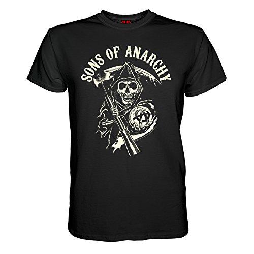 King of Merch - Herren T-Shirt - Sons of Anarchy Totenkopf Deadskull SOA Teller Morrow Jax Opie MC Motorrad Club Redwood Originals California Tig Chibs Hells Angels Tara Knowles Schwarz S