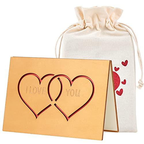 Giiffu Tarjeta de Felicitación de Madera, tarjetas agradecimiento con Embalaje de bolsa con cordón y caja de regalo, para el día del padre, cumpleaños, bodas, San Valentín y aniversarios