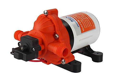 lighteu®, Seaflo DC 12 V 11,6 l/min 3,1 bar 3-Kammer-Wasserdruckmembranpumpe, 33 s, Druckpumpe für Marine, Boote, Yacht, Outdoor, Garten.
