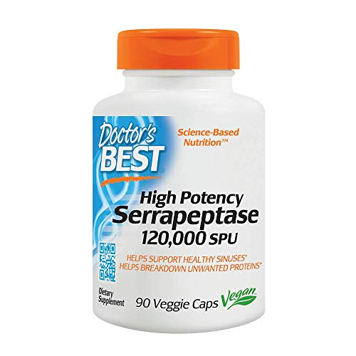 Doctor's Best High Potency Serrapeptase, Non-GMO, Gluten Free, Vegan, Supports Healthy Sinuses, 120,000 SPU, 90 Count