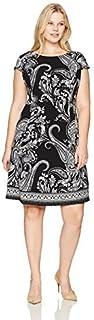 Sandra Darren womens 1 Pc Plus Size Cap Sleeve Scuba Crepe Fit & Flare Dress Casual Dress