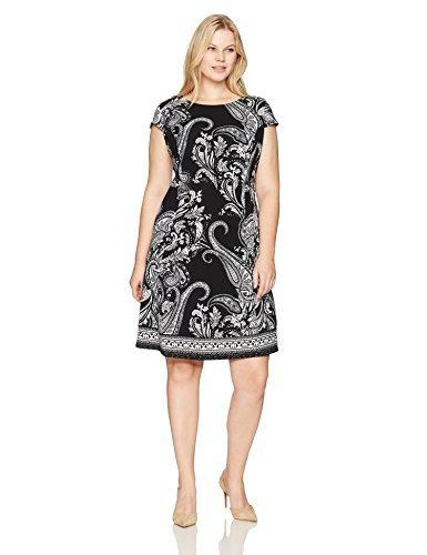 Sandra Darren Women's Plus Size Cap Sleeve Scuba Crepe Fit and Flare Dress, Black/Ivory