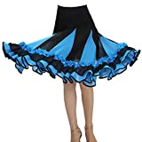 Guiran Mujer Flores Faldas Plisada De Baile De Salon Latino Tango Vestidos Práctica De La Danza Vals Ropa Lago Azul Un tamaño
