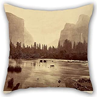 18 X 18 Inches / 45 by 45 cm Oil Painting Eadweard J. Muybridge (American, Born England - Valley of The Yosemite, from Rocky Ford Pillowcover Each Side is Fit for Study Room Couch Kids Girls Her F