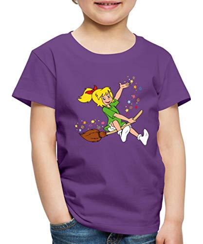 Spreadshirt Bibi Blocksberg Fliegt Auf Hexenbesen Durch Die Luft Kinder Premium T-Shirt, 134-140, Lila