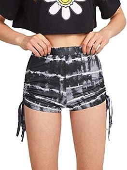 Milumia Women s Tie Dye Drawstring Side Ruched Back Workout Yoga Mini Biker Shorts Black and Grey Medium