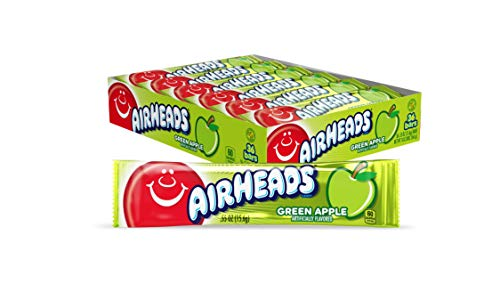 Airheads Candy, Individually Wrapped Full Size Bars, Green Apple, Bulk Taffy, Non Melting, Party, 0.55 oz (Pack of 36)