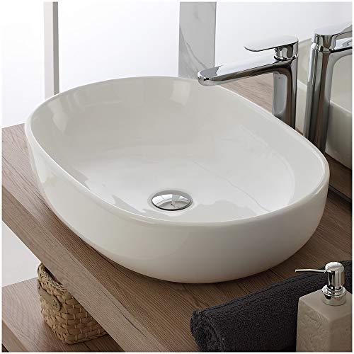 Inbagno Lavabo da Appoggio in Ceramica L.61,5 x P.42,5 x H.14.5 cm Bianco Lucido - Lavandino da appoggio - Lavello - Lavamani