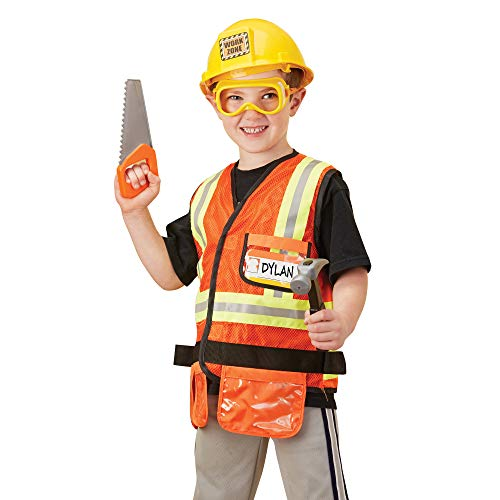 Melissa & Doug Construction Worker Role-Play Costume Set (Pretend Play, High-Quality Fabrics, Machine-Washable, 44.45 cm H x 60.96 cm W x 4.445 cm L)