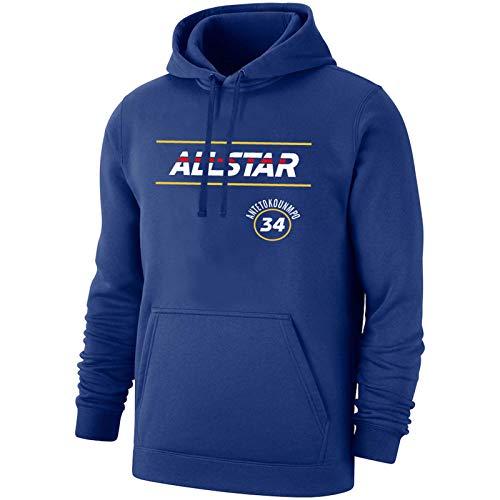 AWEY Bucks Antetokounmpo 34 # Sudadera con capucha de baloncesto para hombre 2021 All-Star Cómodo Microfleece Soft Casual Manga larga con capucha, S-3XL azul-L