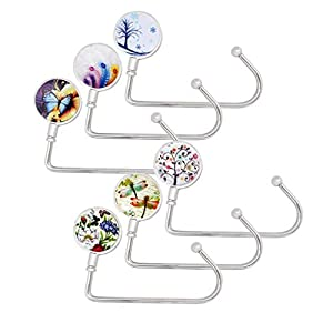 6 Pack Purse Hook Long Handbag Hanger for Table Desk, Creatiee Portable Bag Holder Under Counter Handbags Hook for Women Girl Gift(6
